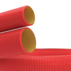 Труба гибкая двустенная для каб. канализации д63мм, цвет красный , 50м, без протяжки